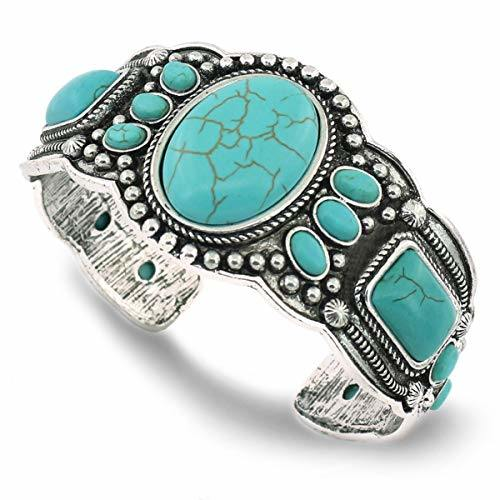 jianxi Women's Antique Base Heart Compressed Turquoise Bracelet Cuff Bangle Jewelry